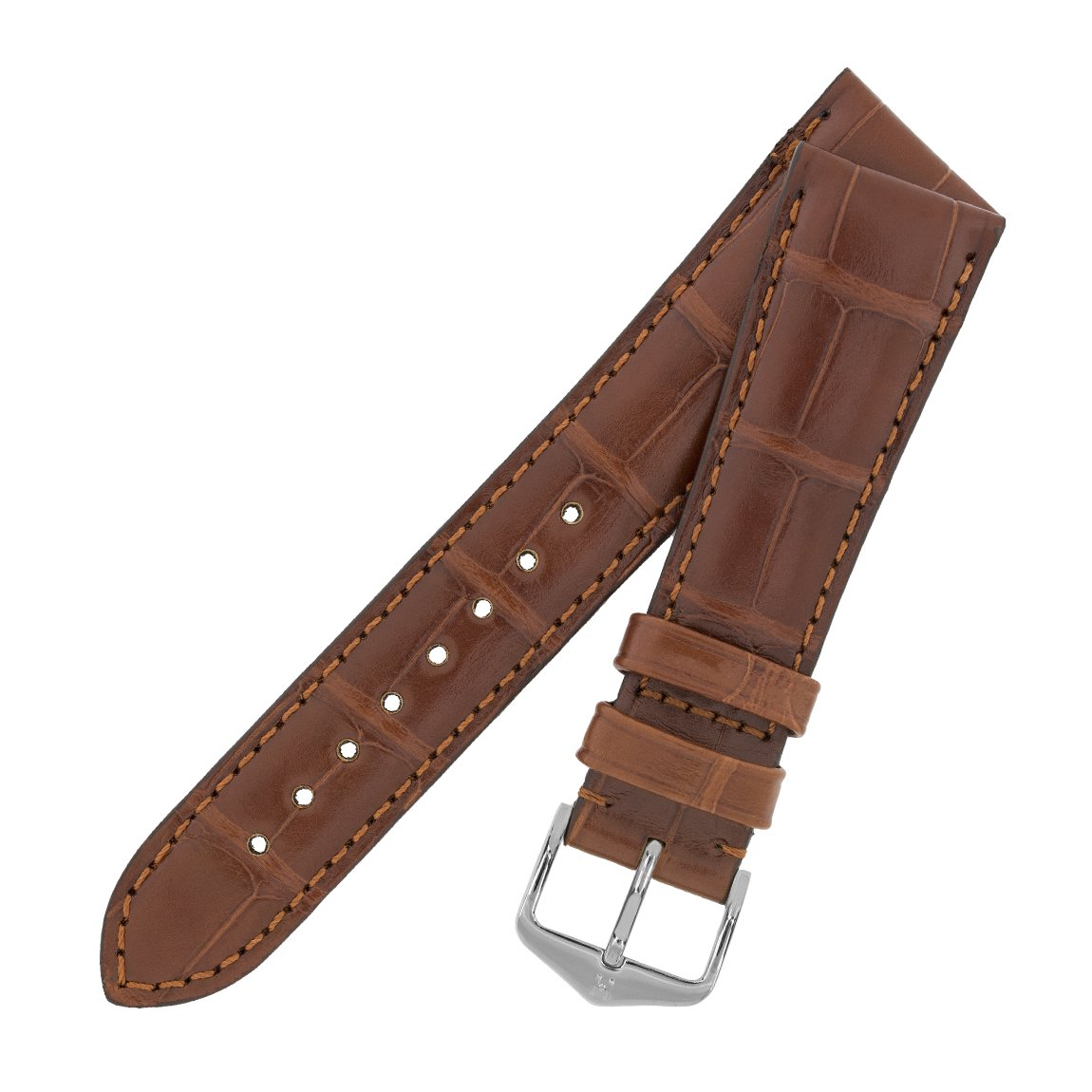 3e1cd2298 Hirsch London Matt Alligator Leather Watch Strap with Buckle in Gold Brown  (20mm (16mm Buckle) L, Rose Gold Buckle): Amazon.co.uk: Watches