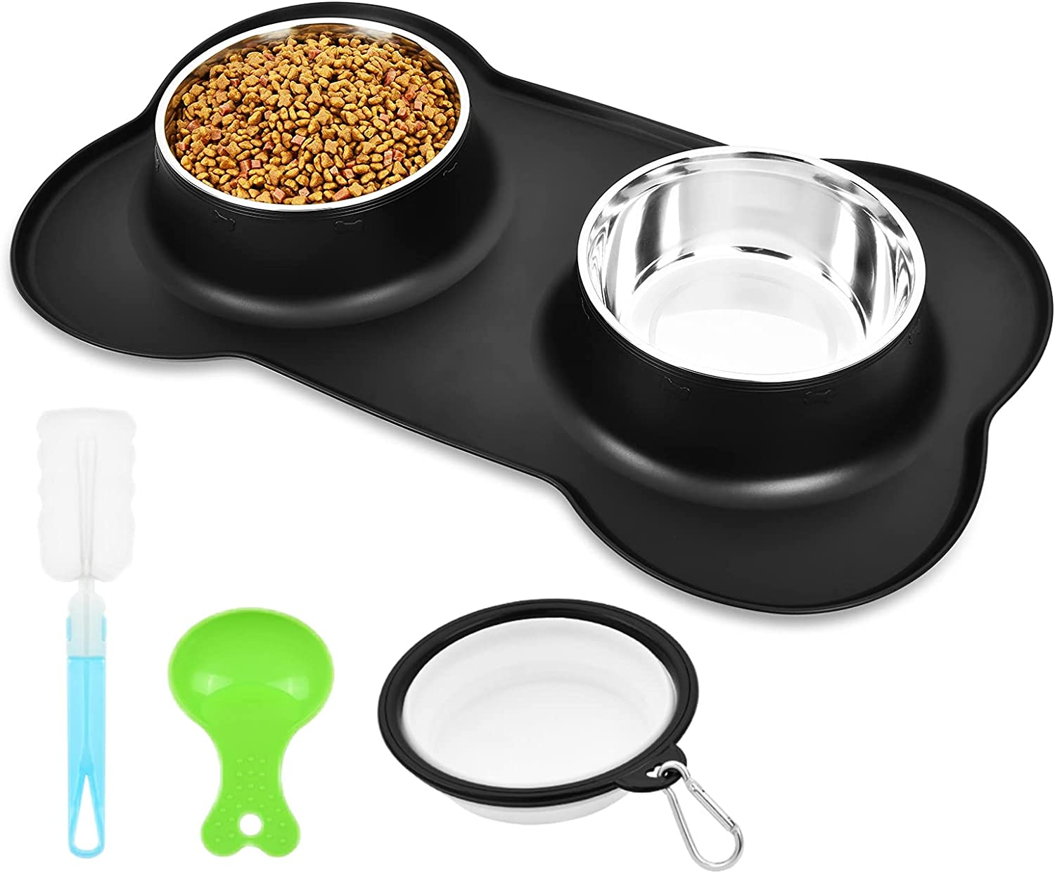 Dog Bowls, Water and Food Dog Bowl, Dog Cat Food Bowl, Double Pet Bowls, Stainless Steel Dog Bowl with Non Spill Non Skid Silicone Mat, Dog Water Bowl for Small Dogs, Cats, Puppies and Pets (S, Black)