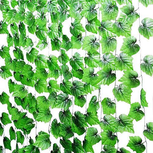95ft-12 Grape Ivy Greenery Artificial Plants Garland Leaves Cane Flower Vine Decoration For Wedding Party Home Garden Wall - 95' Wall