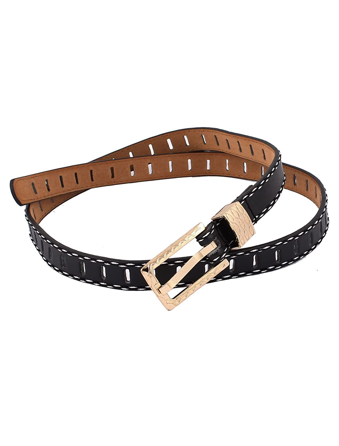 Lady Metal Buckle Faux Leather Waistbelt Ratchet Waist Belt Black