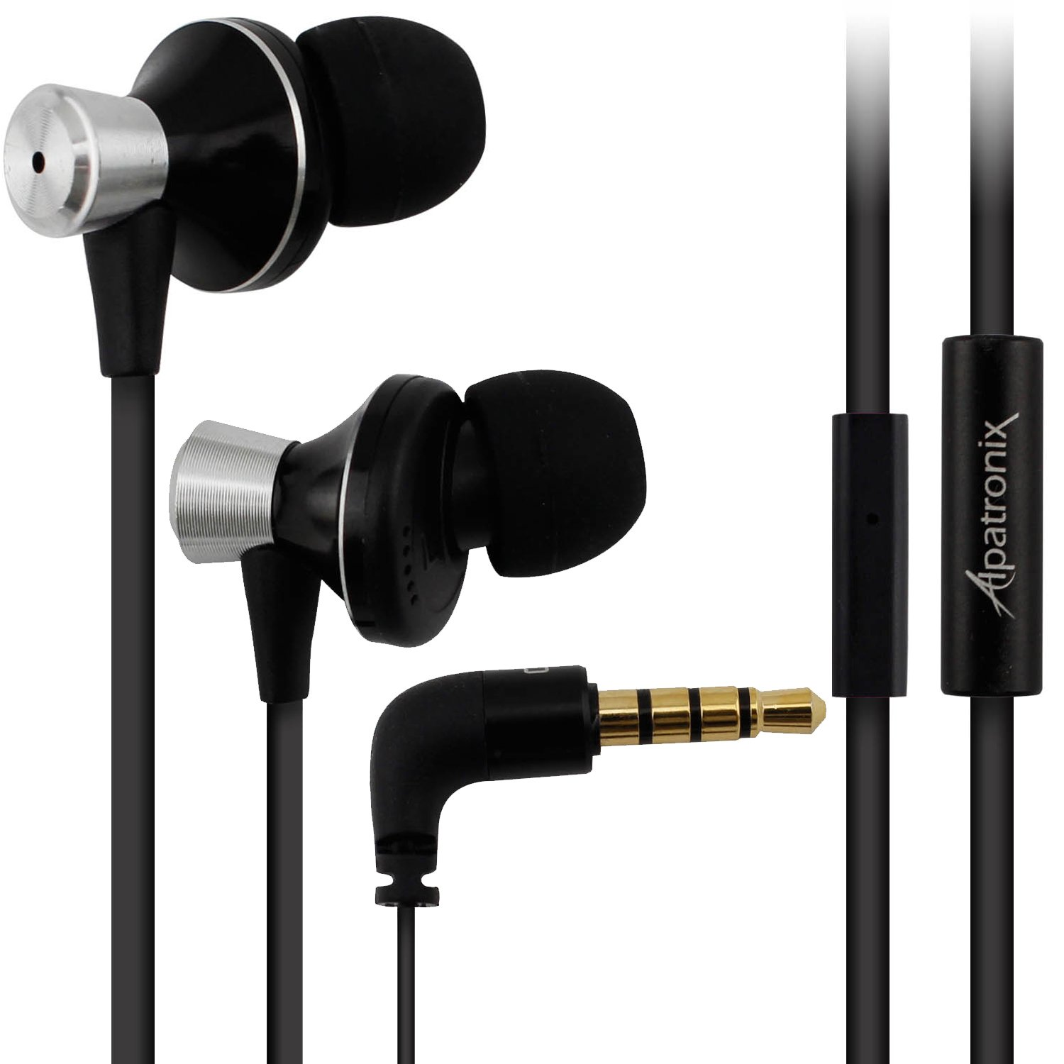 Earbuds, Alpatronix EX100 Universal 1-Button High Performance Stereo In-Ear Headset with Built-in Mic, Tangle-Free Noise Isolating Earphones for Smartphones, Computers, Tablets & Laptops - (Black)