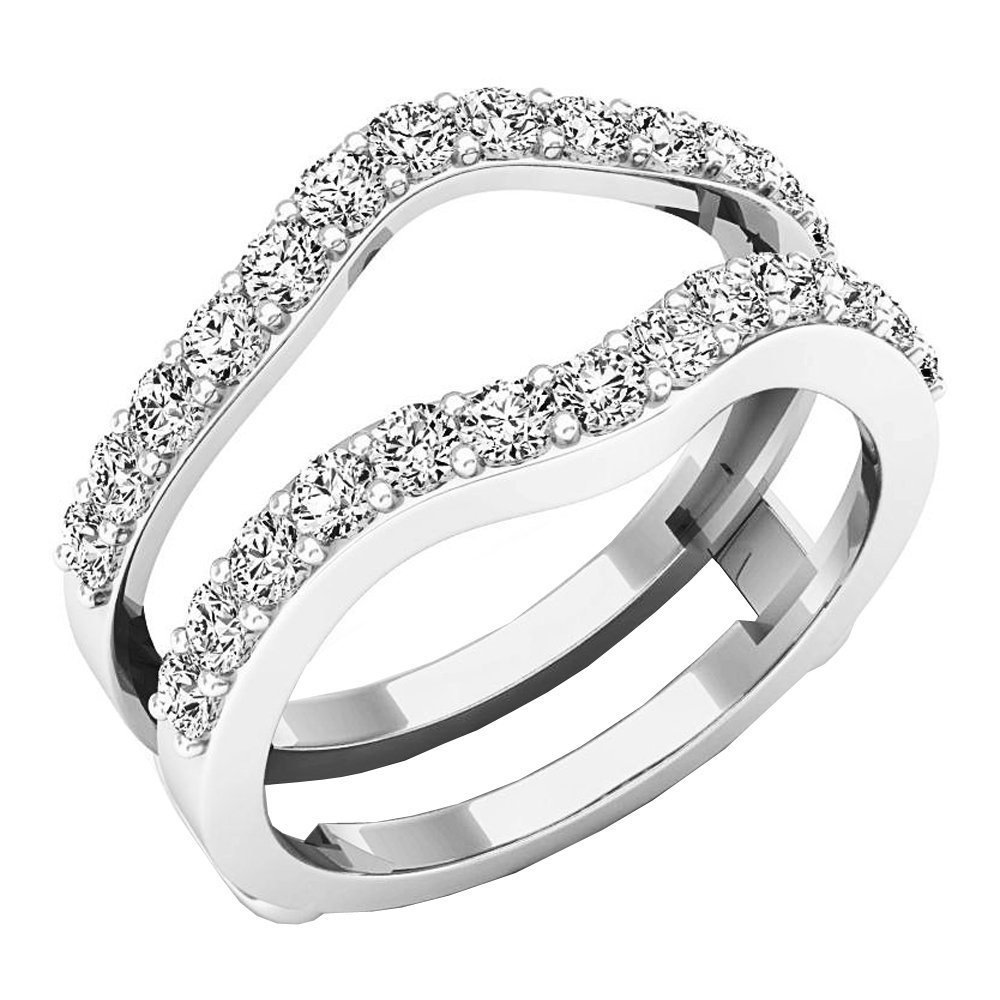 Dazzlingrock Collection 1.60 Carat (ctw) 14K Round Cut Cubic Zirconia Ladies Wedding Guard Double Ring, White Gold, Size 7 by Dazzlingrock Collection