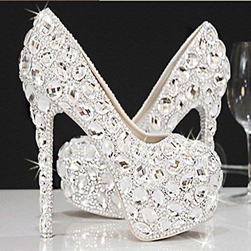 Si& Koreanische Mode/Bridal/Intarsien Crystal Strass/hohe Ferse/Plattform/Hochzeit Kleider/Silberhochzeit Schuhe White