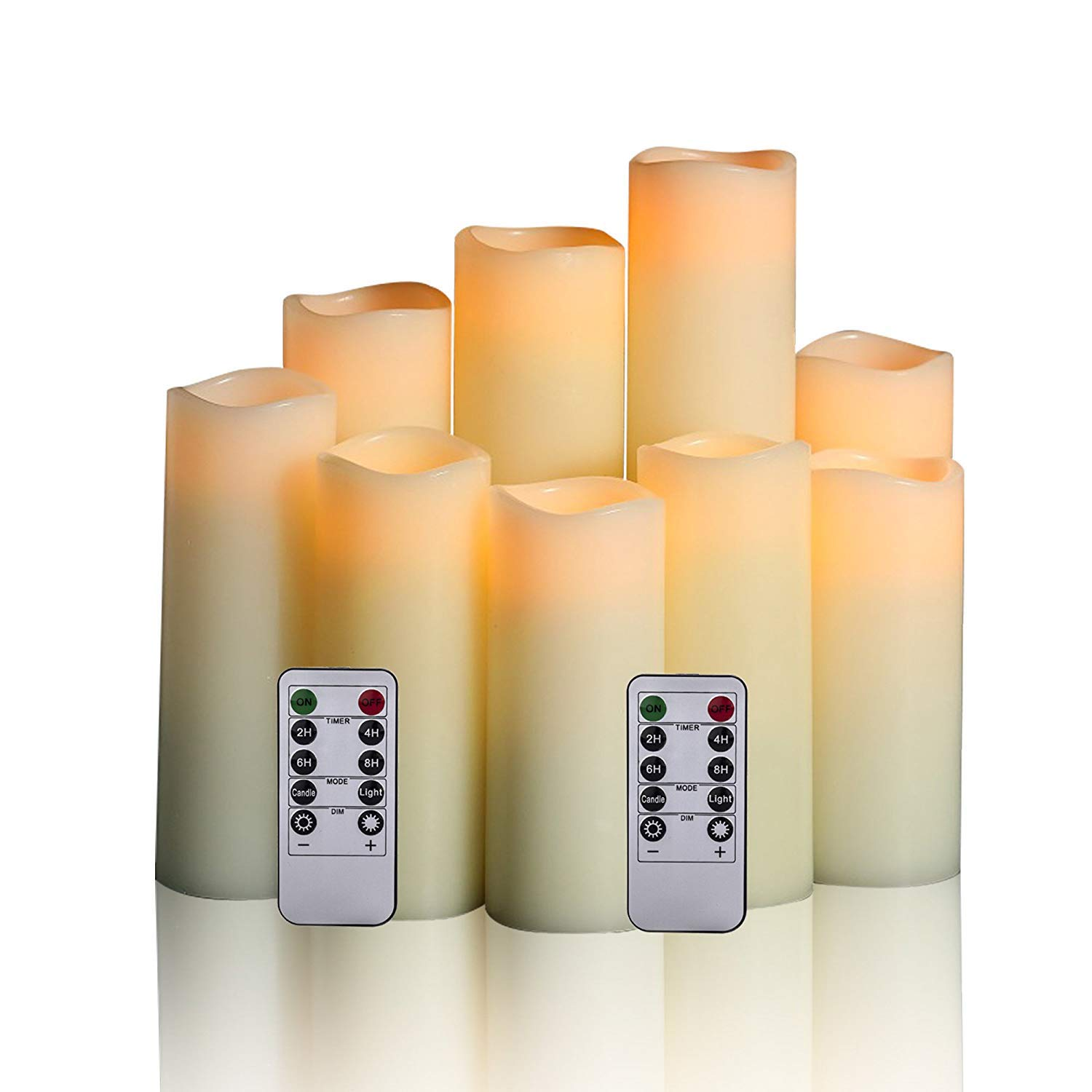Antizer Flameless Candles Battery Operate Drip-Less Real Wax Pillars Include Realistic Flickering LED Flames and 10-Key Remote Control with 24-Hour Timer Function (9-Pack)