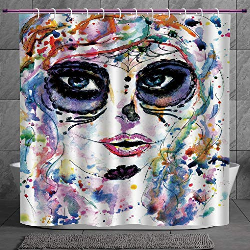 Waterproof Shower Curtain 2.0 [ Sugar Skull Decor,Halloween Girl with Sugar Skull Makeup Watercolor Painting Style Creepy Decorative,Multicolor ] Waterproof Polyester Fabric Decorative Bath Curtain De