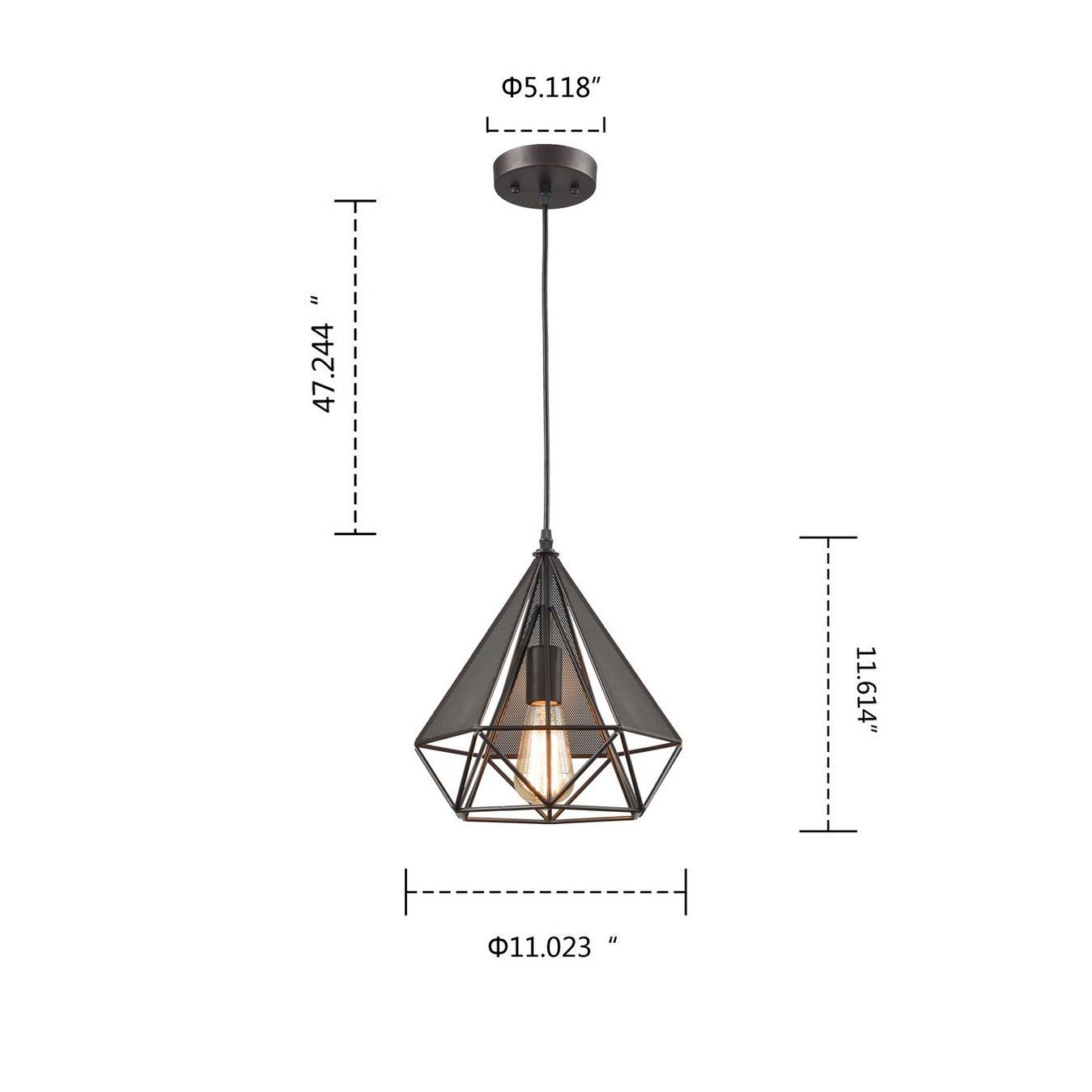 YOBO Lighting Polygon Loft Art Deco Vintage Wire Pendant Kitchen Chandeliers Oil Rubbed Bronze