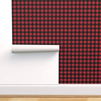 Spoonflower Peel And Stick Removable Wallpaper Plaid Buffalo Red And Black Trendy Lumberjack Happy Camper Print Self Adhesive Wallpaper 24in X 144in Roll Amazon Com