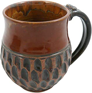 product image for American-made Earthy Terrain Carved Pottery Mug, 14-ounce (Moroccan Cinnamon)
