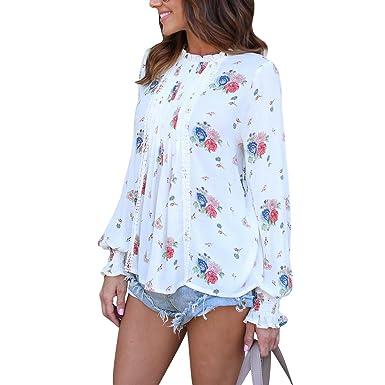 QHDZ Blusa plisada floral de manga larga con estampado floral de las mujeres Blusa de mujer de moda: Amazon.es: Ropa y accesorios