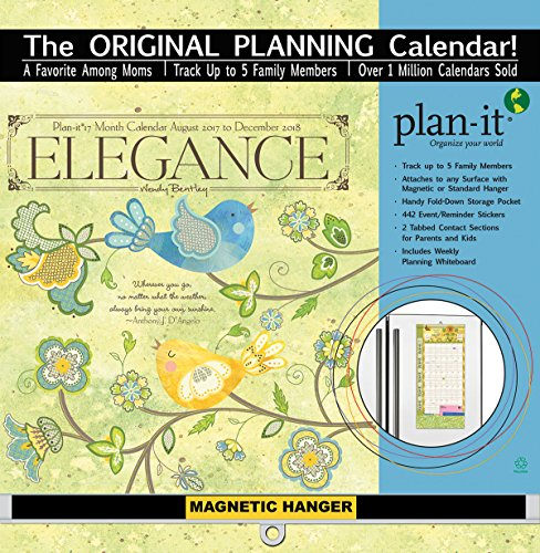 "Wells Street by LANG - ""Elegance"", 2018 Plan-It Wall Calendar, Artwork by Wendy Bentley - 17 Month (Aug. 2017 - Dec. 2018) - Pocket, Tab, Whiteboard - Open 12"" x 26"""