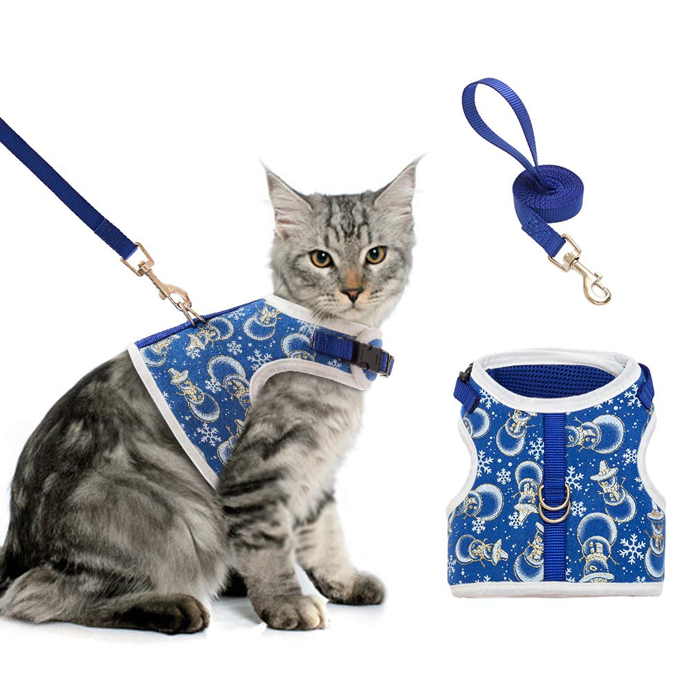 BINGPET Cat Harness and Leash for Walking Adjustable Escape Proof Harness Soft Vest Harnesses for Medium Large Cats