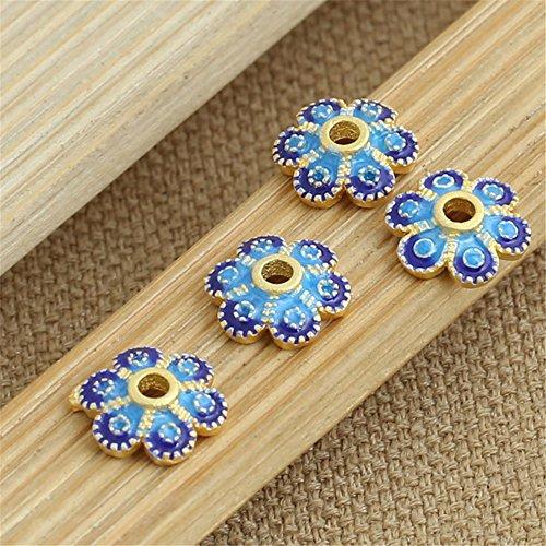 Enamel Sterling Silver Flower Beads - Luoyi 3pcs Golden Plated Sterling Silver Enamel Bead Caps, Cloisonne Flower Caps, 6-petal, 10mm, Hole:2mm (T105L)