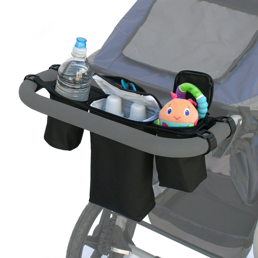 J. L. Childress Cups 'N Cool Deluxe Stroller Console, Black, 1 Pack 2911