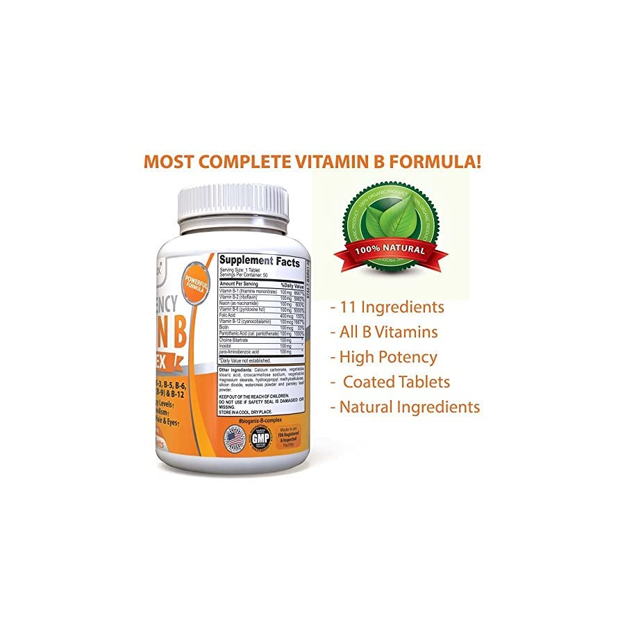 Vitamin B Complex Supplement Made in the USA | With Vitamin B12, B1, B2, B3, B5, B6, B7 Biotin & B9 Folic Acid | Vegan, non GMO High Potency Capsules To Boost Energy, Metabolism, Skin, Hair & Eyes