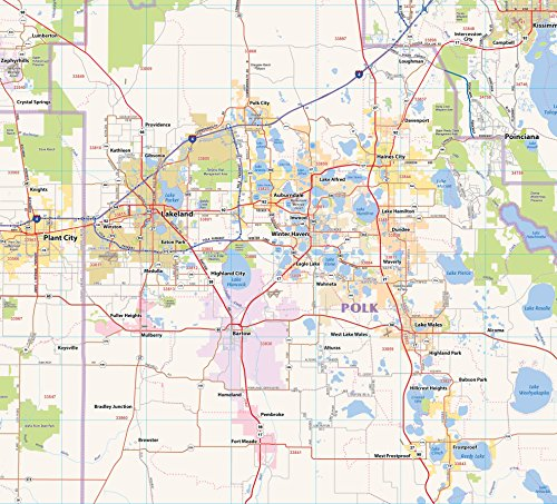Central Florida Laminated Wall map (60''Wx48''L) by Topographics (Image #3)