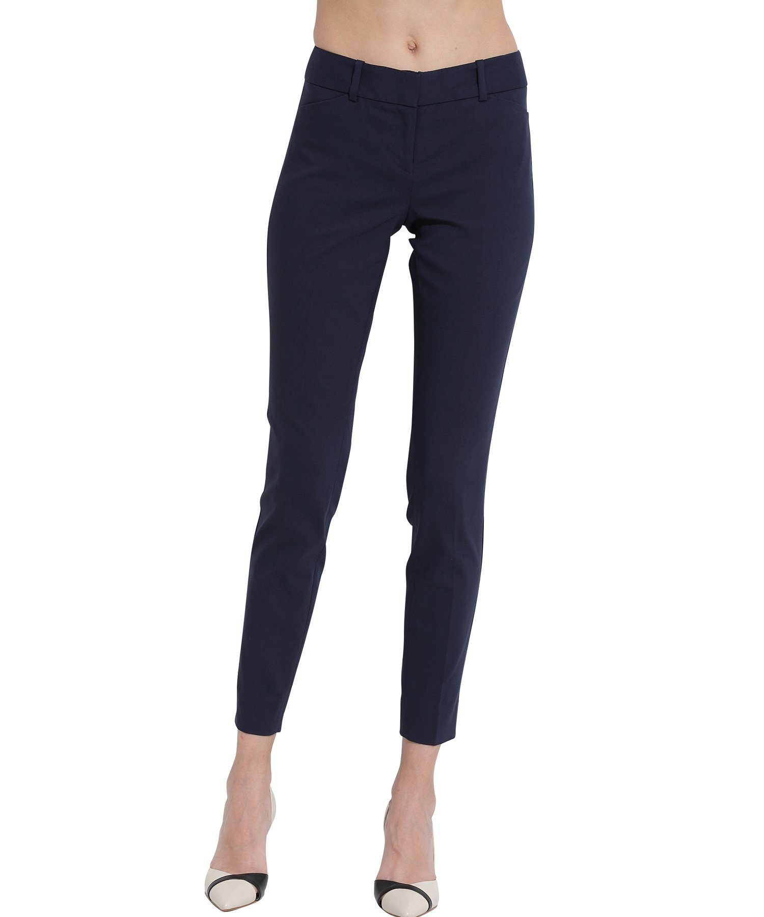 ATOUR Women Chic Skinny Cigarette Trousers Casual Business Pants Slim Fit Navy Size 12