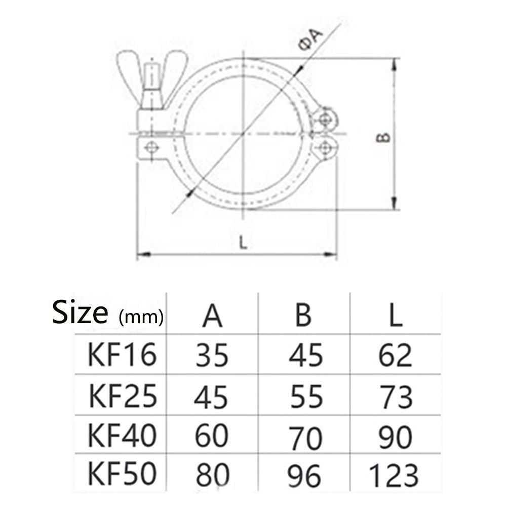 KF-16 Vacuum Fittings Wing Nut 304 Stainless Steel Flange Clamp Wing