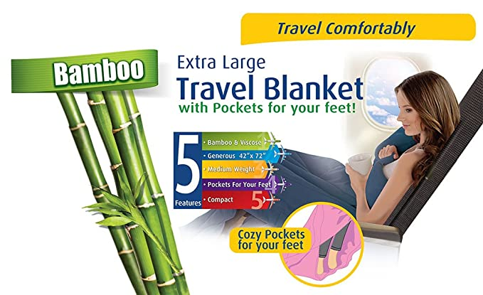 Amazon.com: Cloudz Bamboo Travel Blanket with Bag - Charcoal: Home & Kitchen