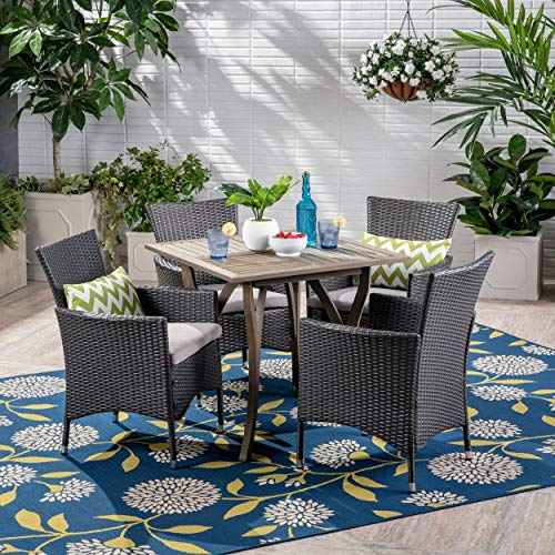 Great Deal Furniture Arthur Outdoor 5 Piece Wood and Wicker Square Dining Set, Gray and Gray (5 Piece Set Dining Outdoor Wicker)