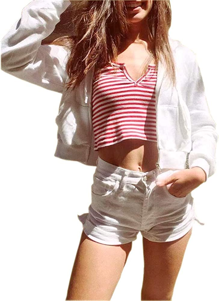 Germinate Huang Cropped Hoodies Women Zipper Zip Up Cute Aesthetic White Sweaters Sweatshirts Oversized Plus Size