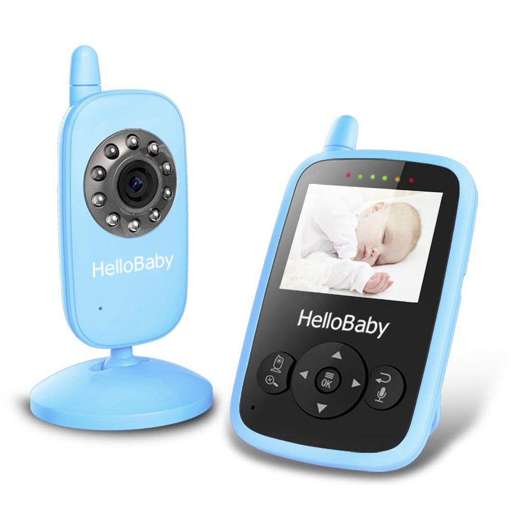 HelloBaby HB24 2.4 Digital Funk TFT LCD Drahtlos Babyphone Wireless Video Kamera Baby Monitor Babyviewer Überwachung Nachtsicht + Temperatursensor EU Plug(Blau)
