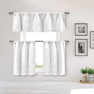 Kelvin - Home Decorator Blackout Room Darkening Kitchen Tier & Valance Set   Small Window Curtain for Cafe, Bath, Laundry, Bedroom - White)