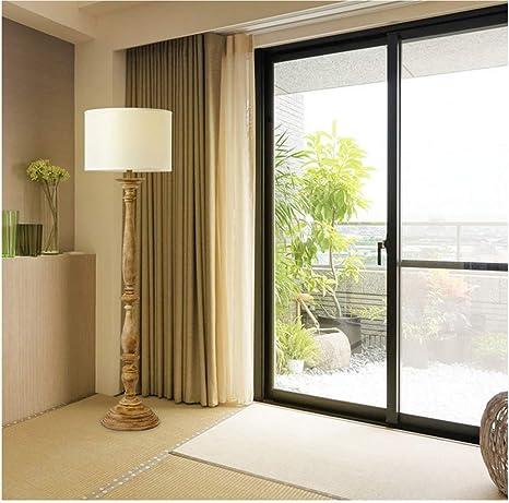 Lámpara de pie nórdica de madera maciza Rústica Do The Old Lámpara de pie de madera 1.56M con pantalla de tela redonda para sala de estar Dormitorio Lectura junto a la cama (