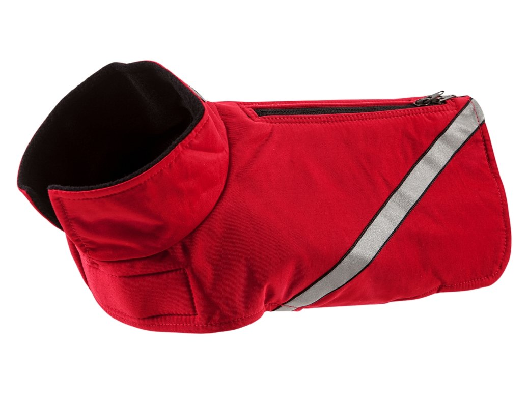 RC Pet Products Whistler Zip Line Version 2.0, Water-Resistant, Fleece Lined, Reflective Dog Coat, Size 16, Red