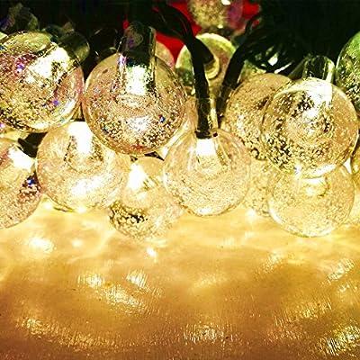 Sogrand,60LED 36FT.Solar String Lights,Warm White LED Crystal Ball,Solar Lights Outdoor,String Lights,Solar Garden Lights for Garden,Party,Dinner,Bedroom,Festival,Patio,Yard,Landscape