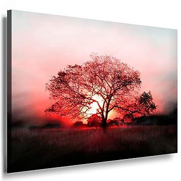 Sonnenuntergang Baum / Bild 100x70cm / Leinwandbild fertig auf ...