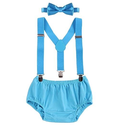 Geburtstag WELROG Baby Jungs Kuchen Smash Outfit Verstellbare Y Hosentr/äger /& Fliege Girls Bloomers zum 1.//2