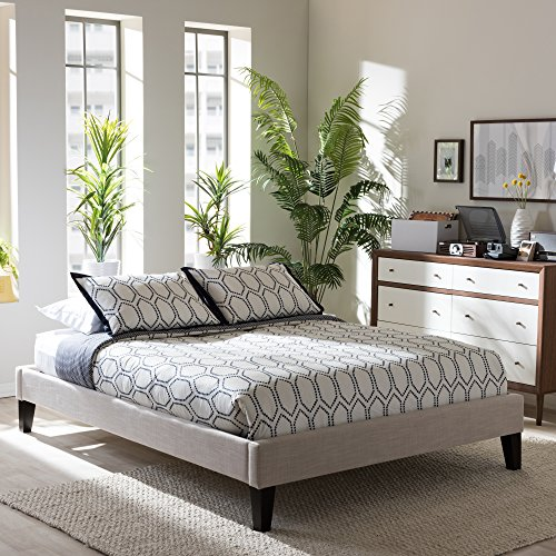 Baxton Studio Leverett Modern and Contemporary Beige Linen Fabric Upholstered Bed Frame with Tapered Legs, King