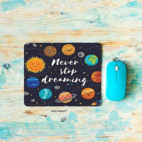 HGOD DESIGNS Planet Gaming Mouse Pad,Cute Outer Space Planets and Star Cluster Solar System Moon and Comets Sun Cosmos Mousepad Rectangle Non-Slip Rubber Mouse Pads(7.9