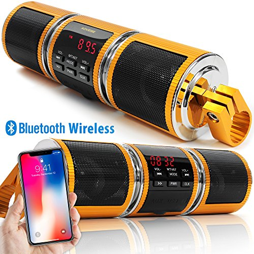 Ski Bicycle (GoldenHawk Motorcycle Waterproof Bluetooth Wireless Stereo Speakers 7/8 in. Handlebar Mount MP3 Music Player Audio Amplifier System Scooter Bike ATV UTV Jet Ski 3.5mm AUX IN, USB, microSD, FM Radio)