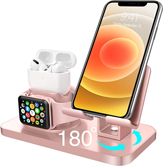 Amazon Com Bentoben 3 In 1 Charging Stand For Apple Watch Series 5 4 3 2 1 Airpods Pro 2019 2 1 Compatible With Iphone 12 11 Xs Max Xr Xs 8 7 6 6s Plus 5s Ipad Tablet Stand Original Cable Required Rose Gold Electronics