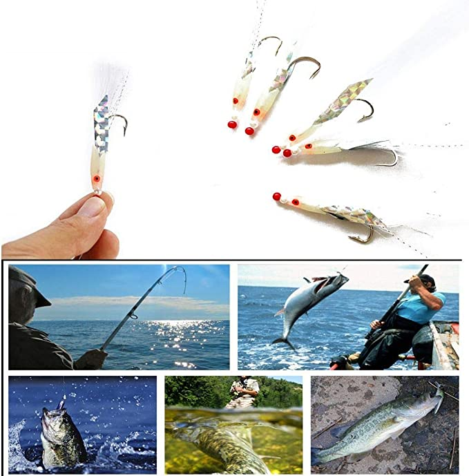 IG/_ 5Pcs Pravtical Mackerel Feathers Bass Cod Lures Sea Fishing Rigs Tackle Bait