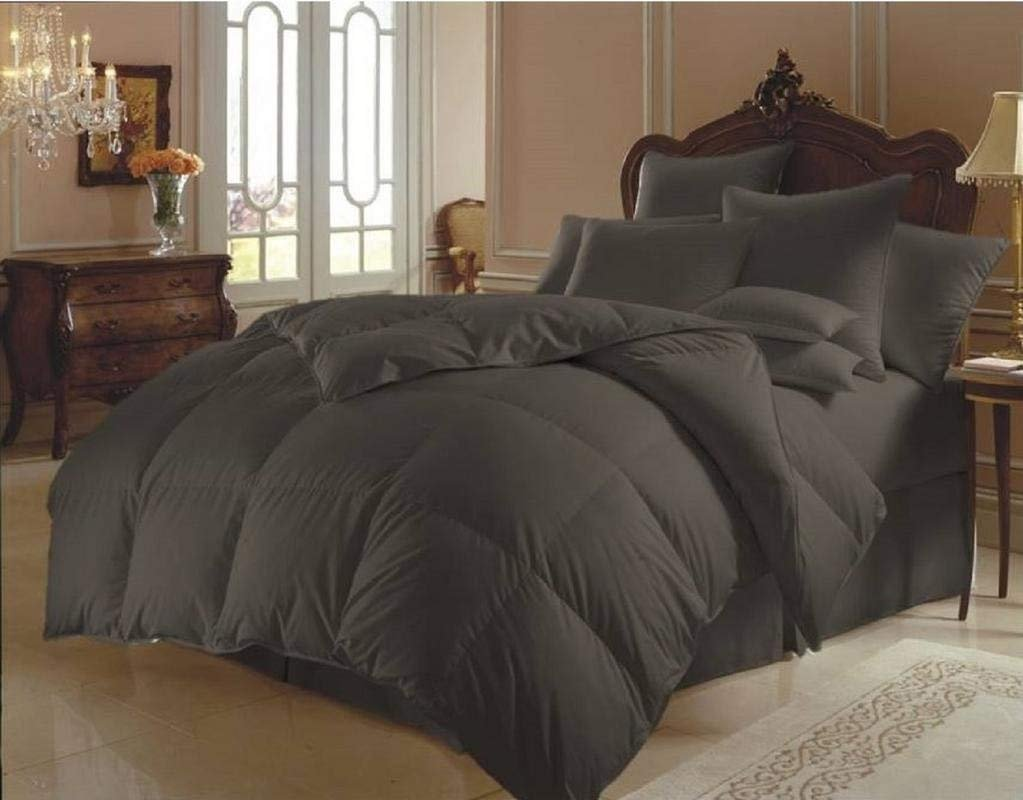 SUNLIGHT BEDDING Luxurious Ultra Soft 1 Piece Box Stitched Goose Down Alternative Quilted Comforter 300 GSM 800 Thread Count 100% Pure Organic Cotton Solid Full Black