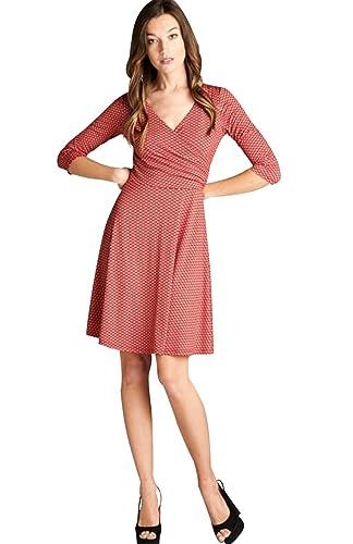 BodiLove Women's 3/4 Sleeve V-Neck Faux Wrap Midi Career Dress
