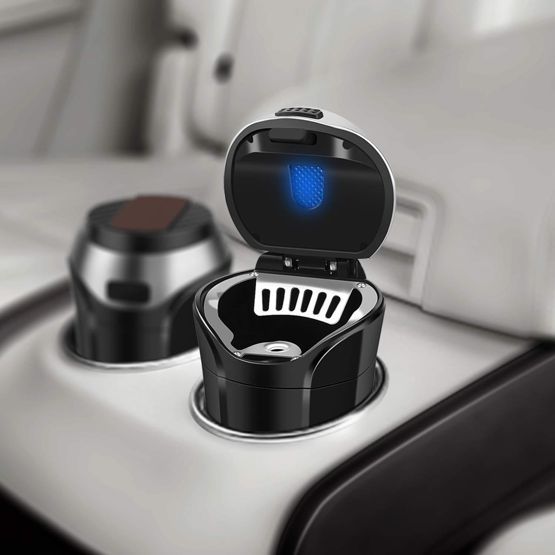 E-More Auto-Aschenbecher tragbar abnehmbar mit Blauer LED-Anzeige USB-Ladekabel f/ür die meisten Auto-Becherhalter rauchfrei