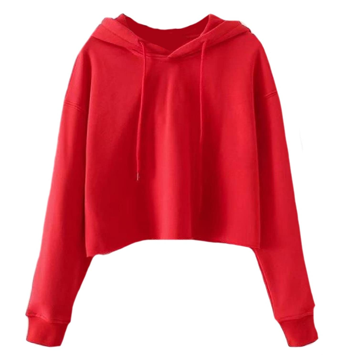 Abetteric Womens Baggy Cozy Drawstring Pullover Cropped Hooded Sweatshirts