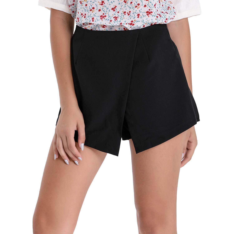 BARGOOS Women Asymmetrical A Line Wrap Summer Casual High Waist Mini Shorts Skorts Skirt with Zipper