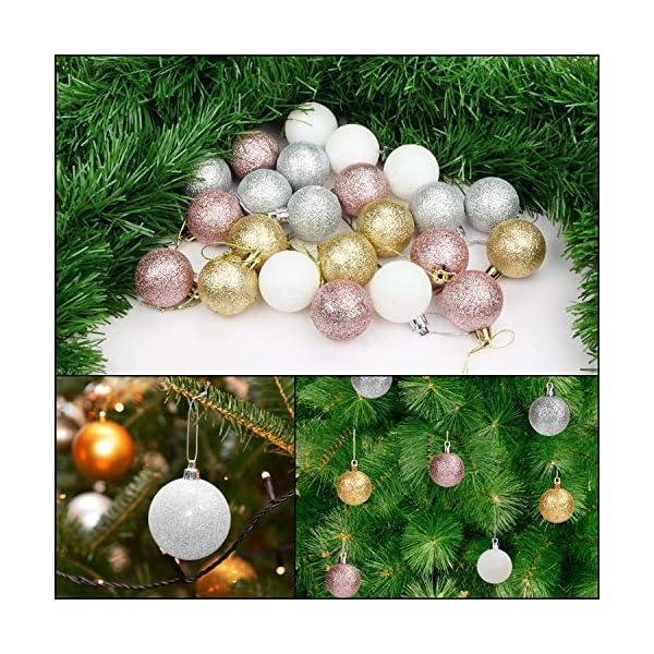 Belle Vous Palline di Natale (48pz) - Palline di Natale Argento e Palline di Natale Oro, Oro Rosa e Bianco da 4 cm, 12 Cad. con Cordino per Decorazioni Natalizie per la Casa e Addobbi Albero di Natale 5 spesavip