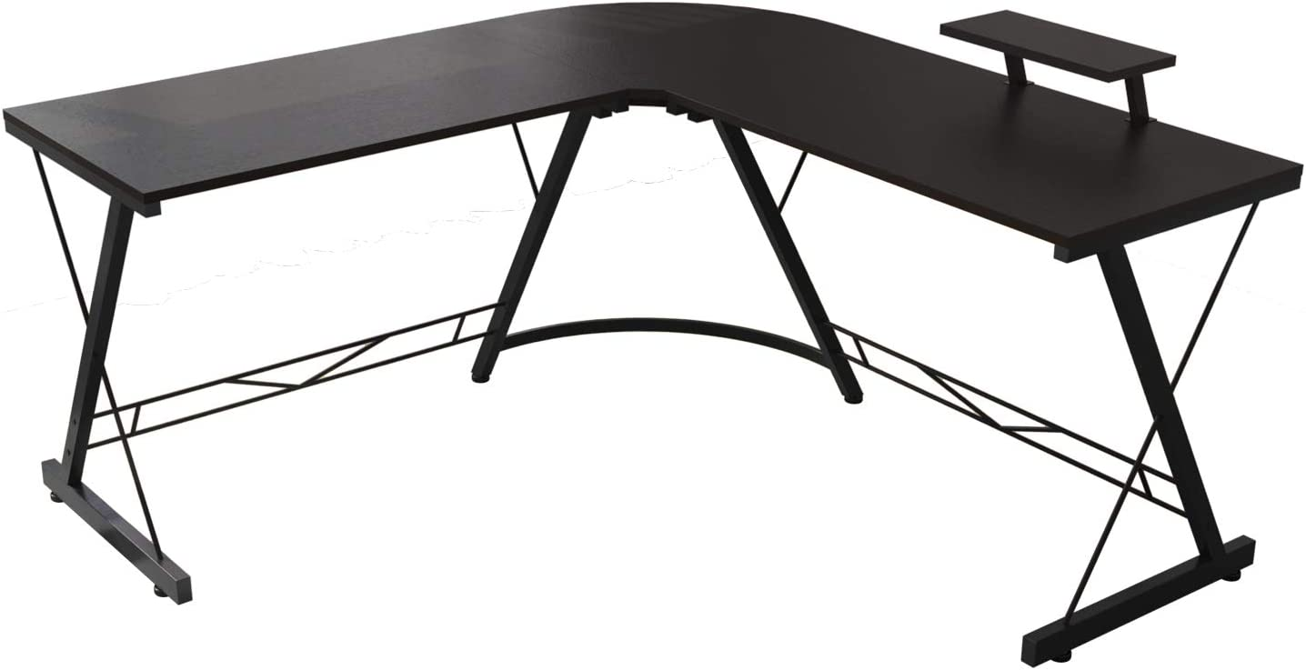 Corner Side L Shaped Table, Home Office Computer Desk with Small Desktop Shelf, Study Writing Desk with Round Fillet Edge, Desks for SOHO/Workstation, Gaming Workstation with Monitor Stand (Black)