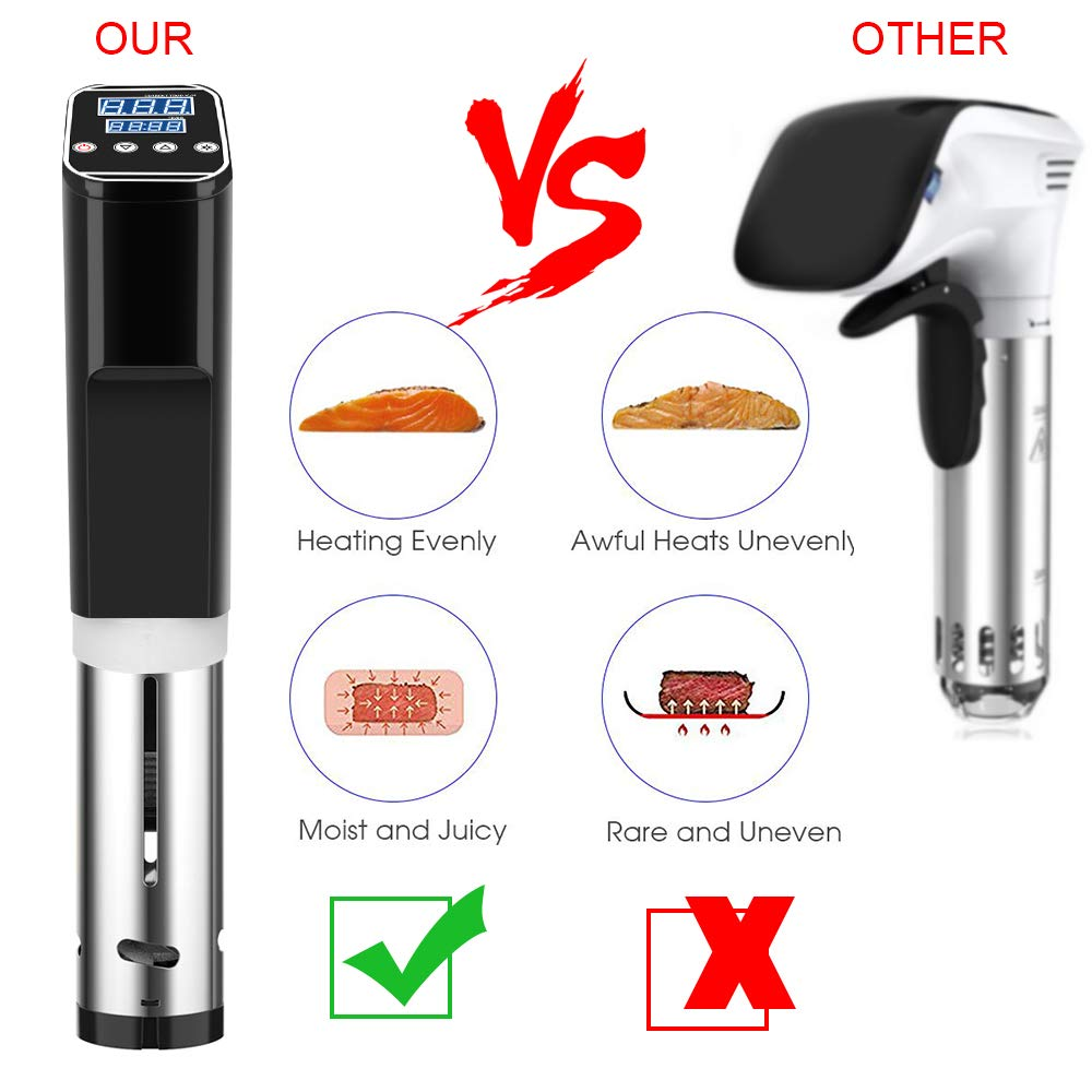 Sous Vide Cooker Accurate Immersion Cooker,1000W,Easy To Use Temperature and Time Settings by Fofashion (Image #3)