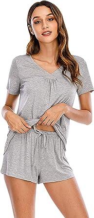 YAOMEI Pijamas Camisón para Mujer, 2 Pcs Corto Camisones ...