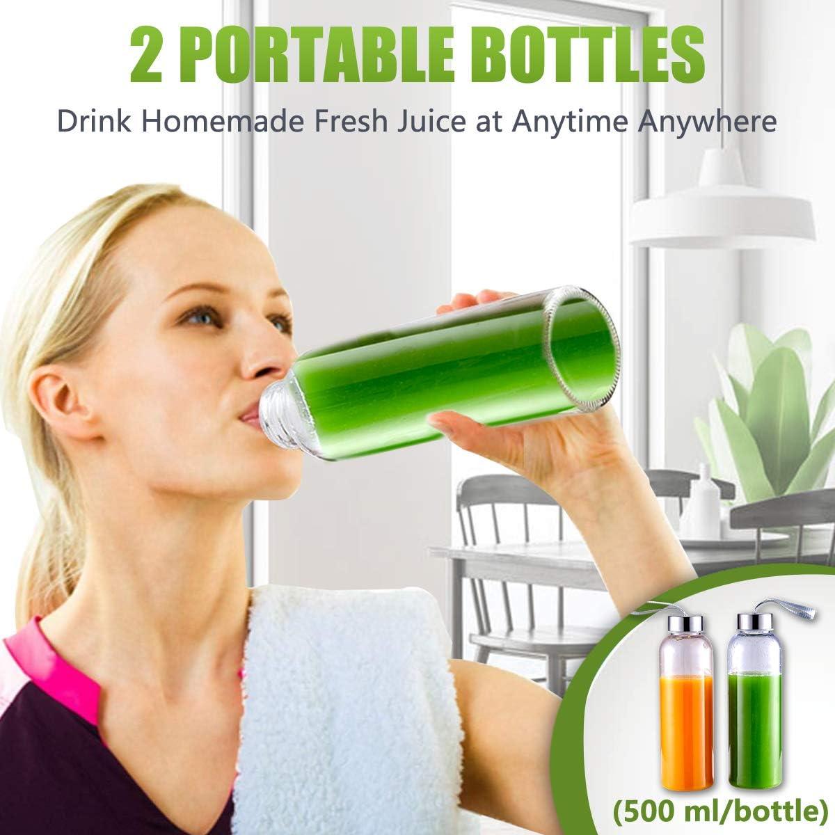 500ML cepillo f/ácil de limpiar,Blanco Extractor de zumos con 2 velocidades panel de pantalla LED Licuadora prensada en fr/ío AMZCHEF licuadora de frutas y verduras 2 botellas de agua