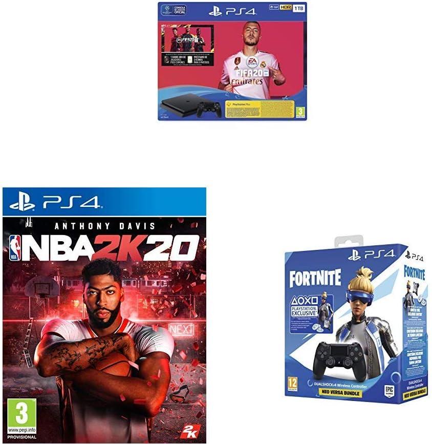 PlayStation 4 (PS4) Consola de 1TB + FIFA 20 + NBA 2k20 + Sony ...