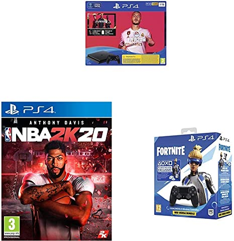 PlayStation 4 (PS4) Consola de 1TB + FIFA 20 + NBA 2k20 + Sony - DualShock 4 V2 Fortnite VCH 2019 500 Vbucks, Negro (PS4): Amazon.es: Videojuegos