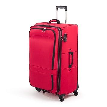 Maleta de tela grande de 105 litros con 4 ruedas y candado de 3 digitos (Rojo): Amazon.es: Equipaje