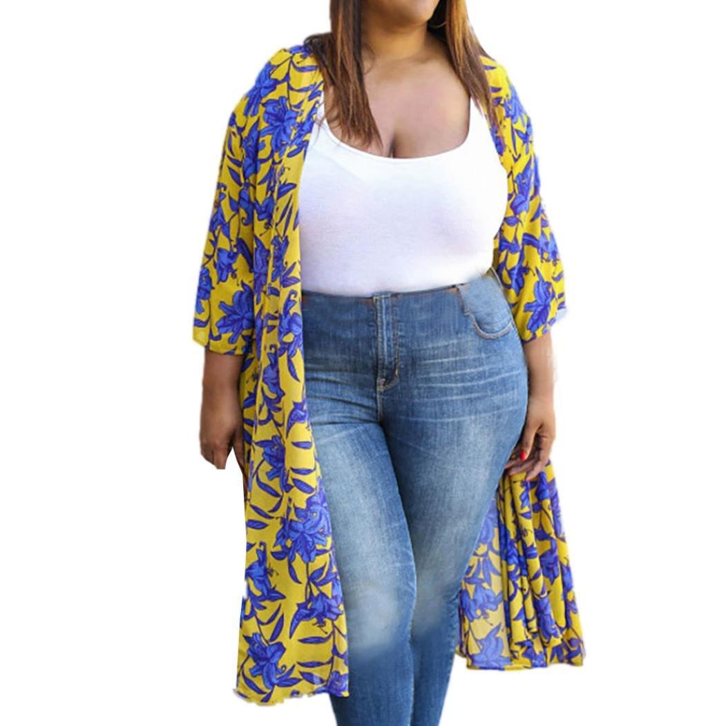 Frauen Kimono Cardigan, Kingwo Damen bedruckte Oberteile Cover bis Bluse Floral Drei Viertel Ärmel Plus Size Cardiganes